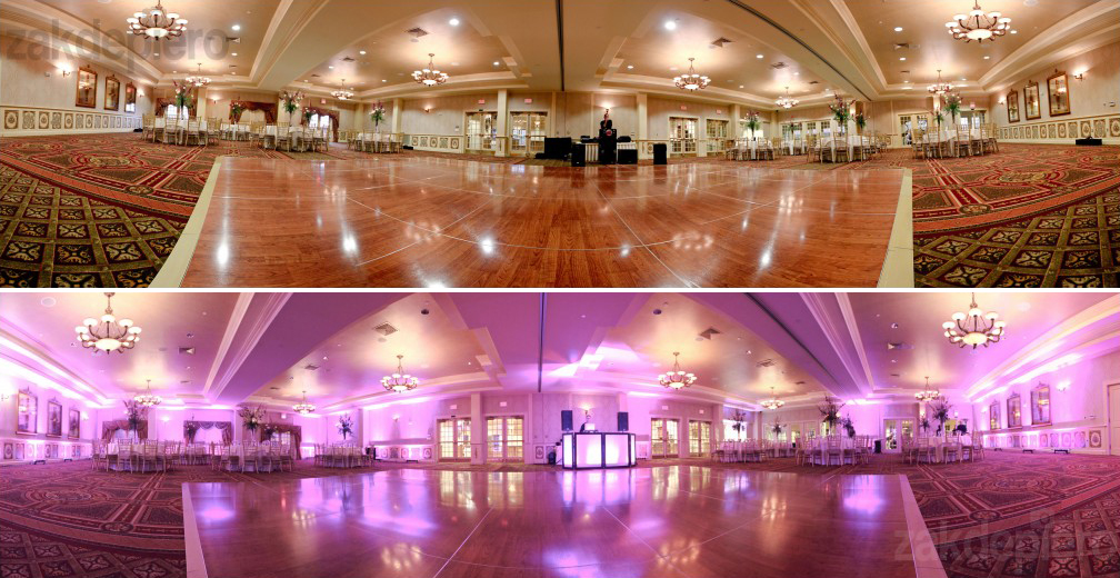 Before and after image of uplighting at a wedding