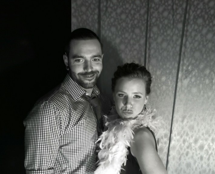 black and white photo from a ct photo booth