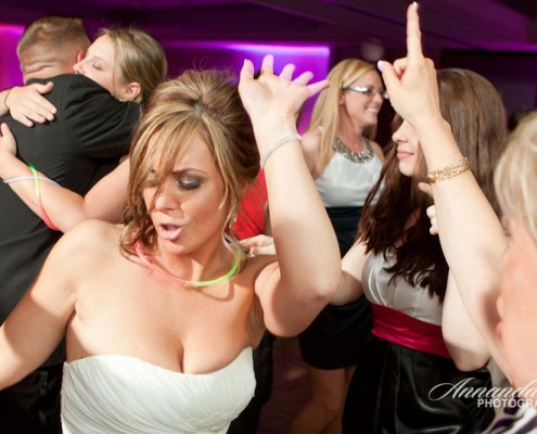 A bride dances at her wedding reception