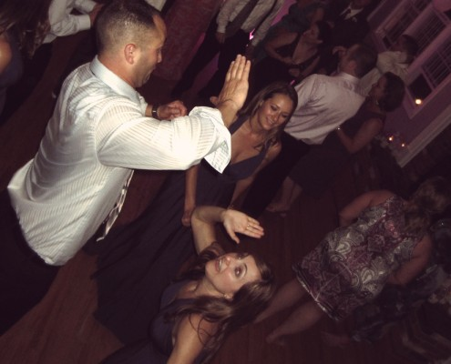 Wedding guests show off their dance moves